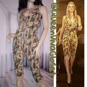 Camo army olive green brown tan knit jumpsuit